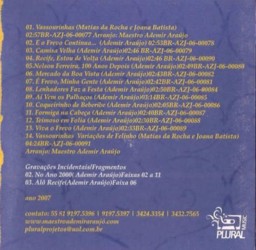 CD E o Frevo continua - 2007 - contracapa